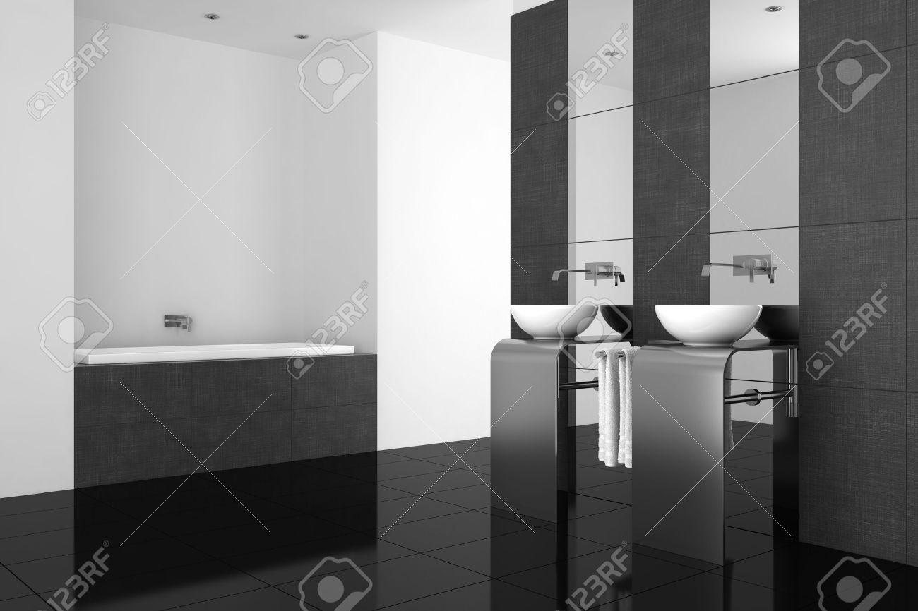 Modern Bathroom With Double Basin And Black Floor Stock Photo