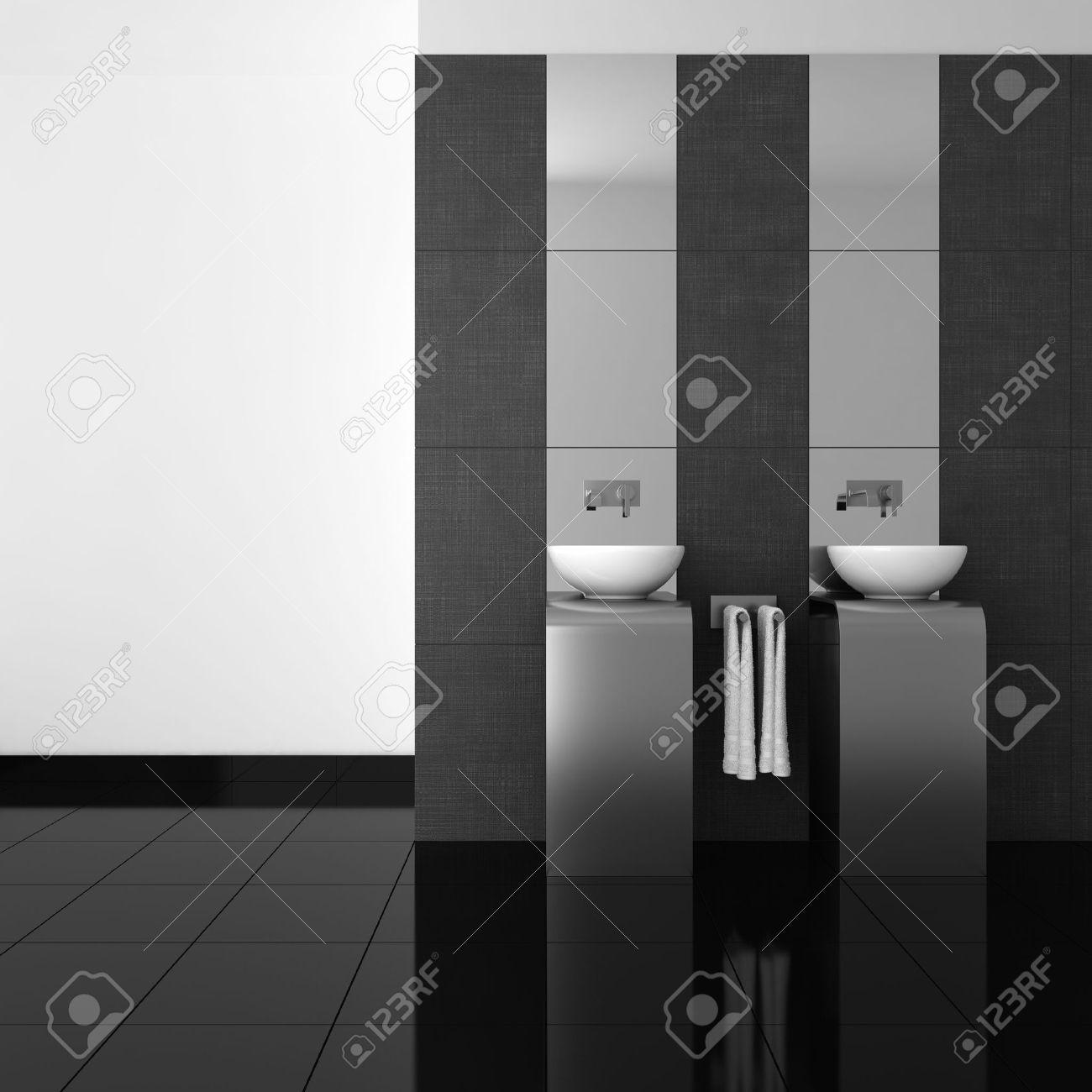 Modern Bathroom With Double Basin And Black Floor Stock Photo - Black modern bathroom toilet