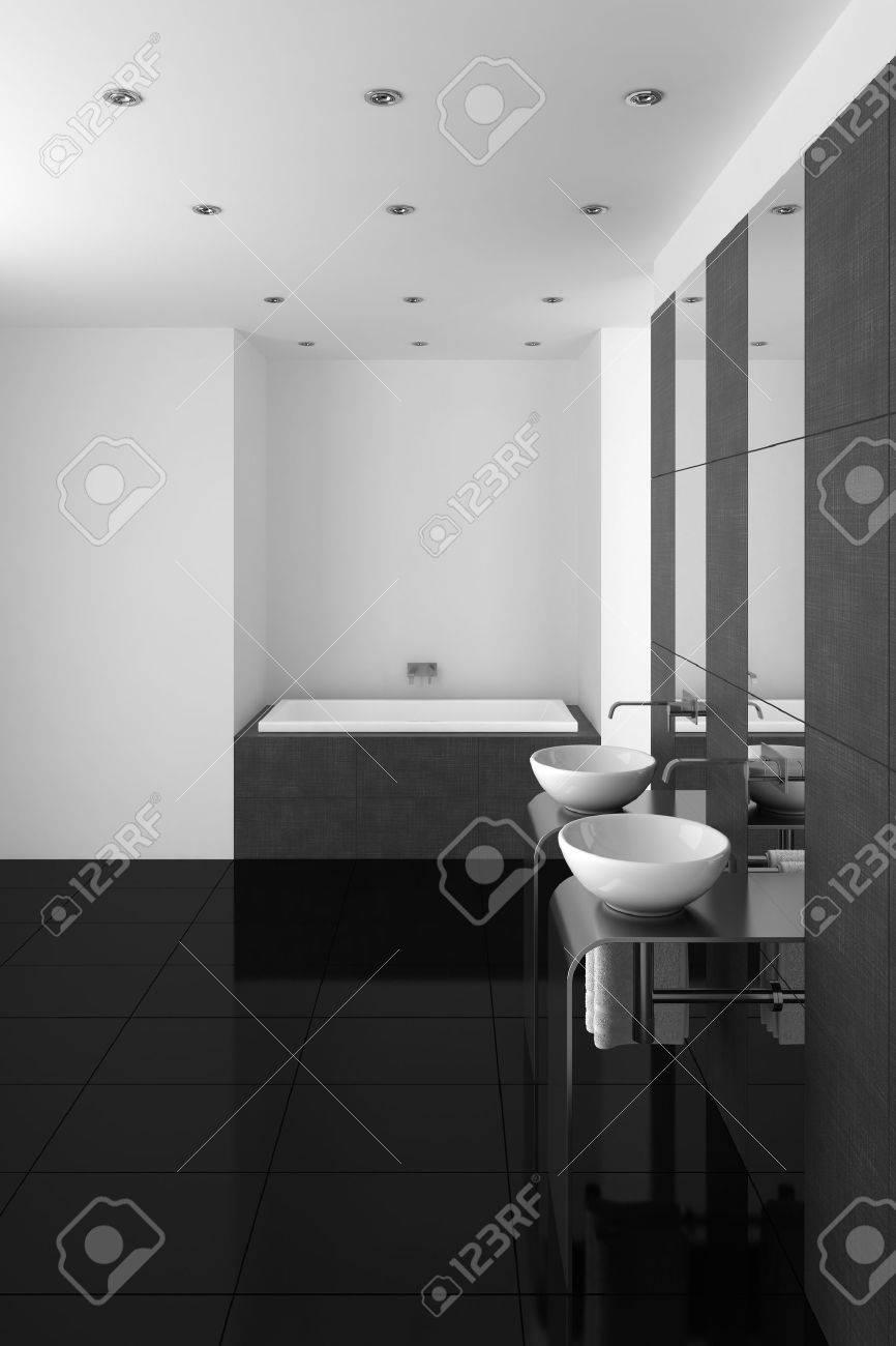 Moderno bagno con doppio lavabo e pavimento nero foto royalty free ...