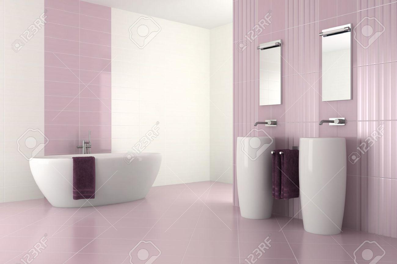 lila modernes badezimmer mit zwei waschbecken und badewanne - 3d, Badezimmer