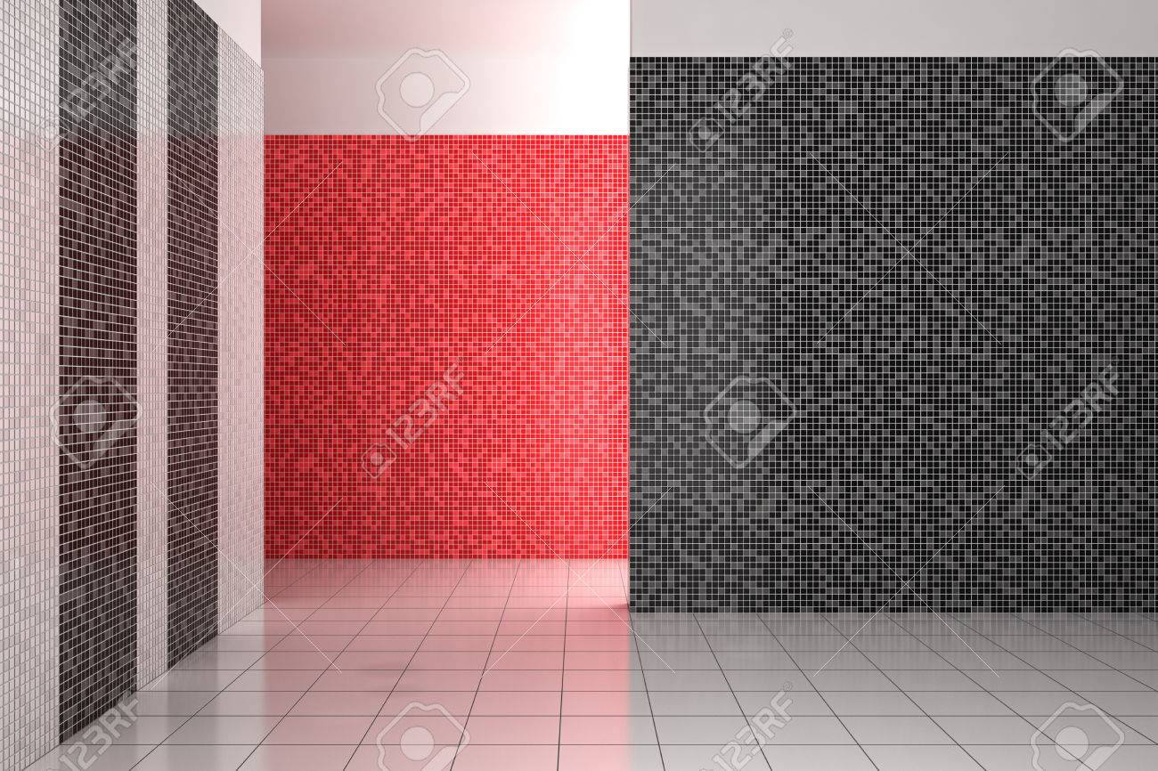 Empty Modern Bathroom With Mosaic Tiles In Black, White And Red ...