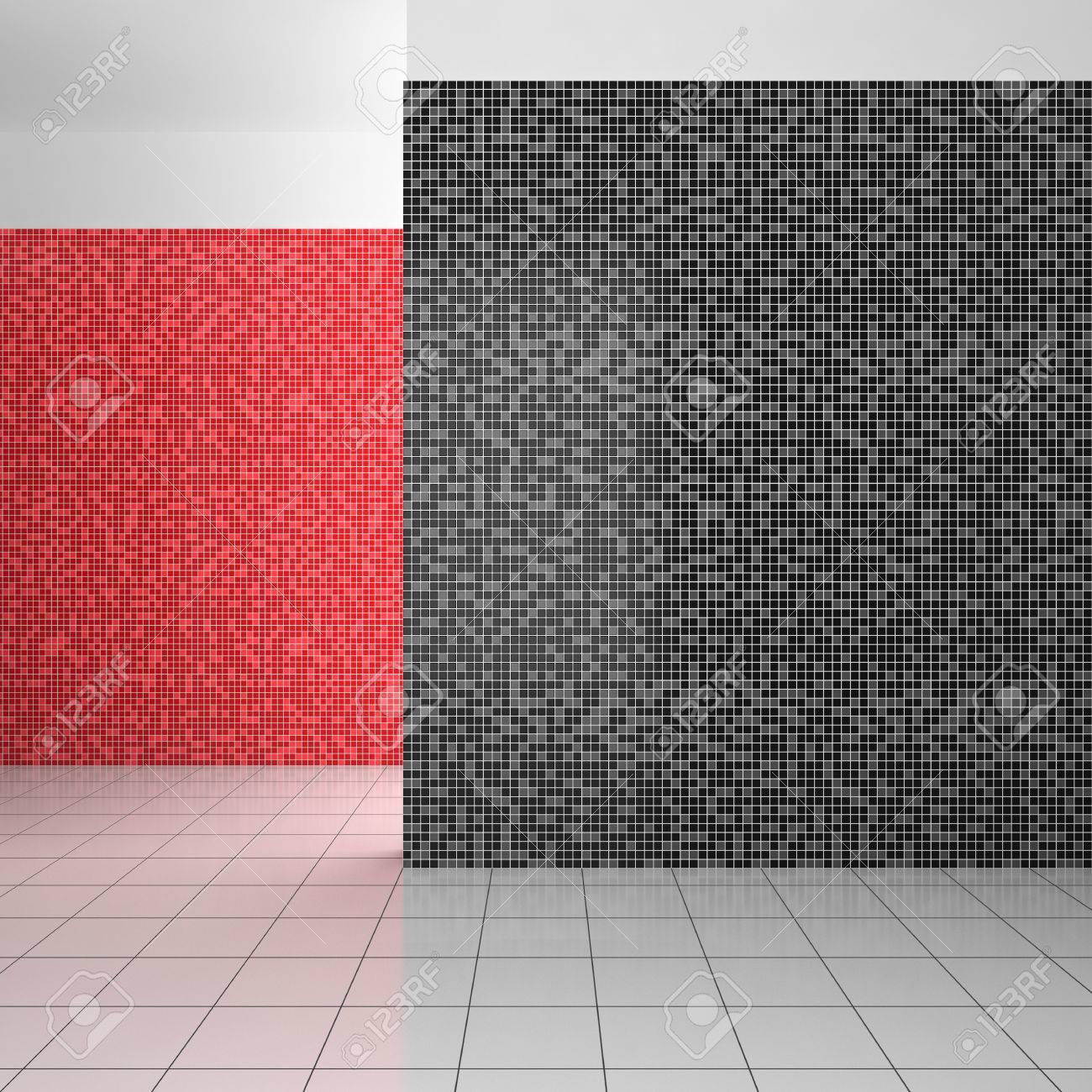 leer modernes bad mit mosaikfliesen in schwarz, weiß und rot, Hause ideen