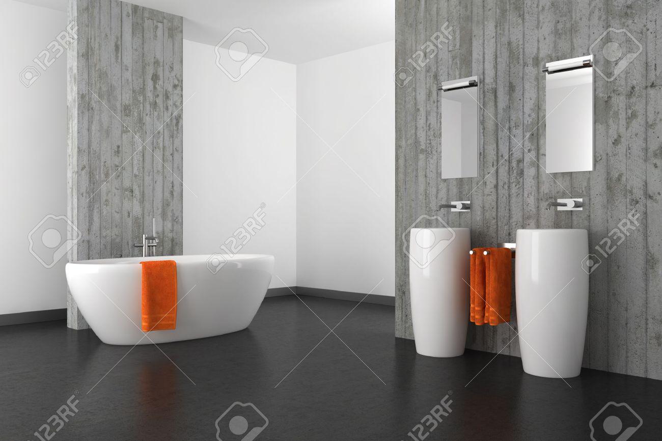 Modern Bathroom With Double Basin Concrete Wall And Dark Floor Stock ...