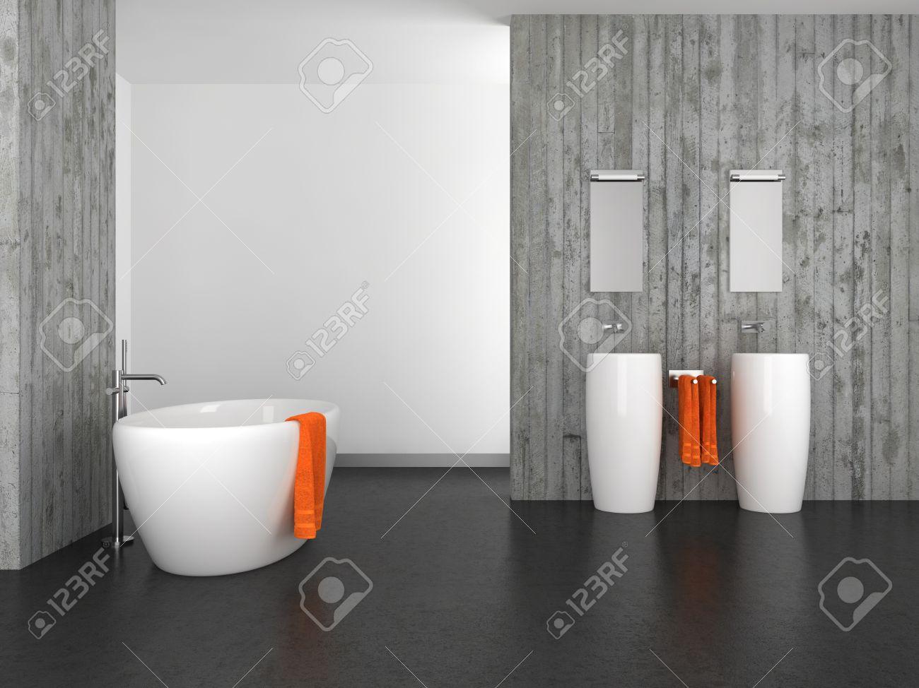 moderno bagno con doppio lavabo a muro di cemento e pavimento ... - Bagni Moderni Con Doppio Lavabo