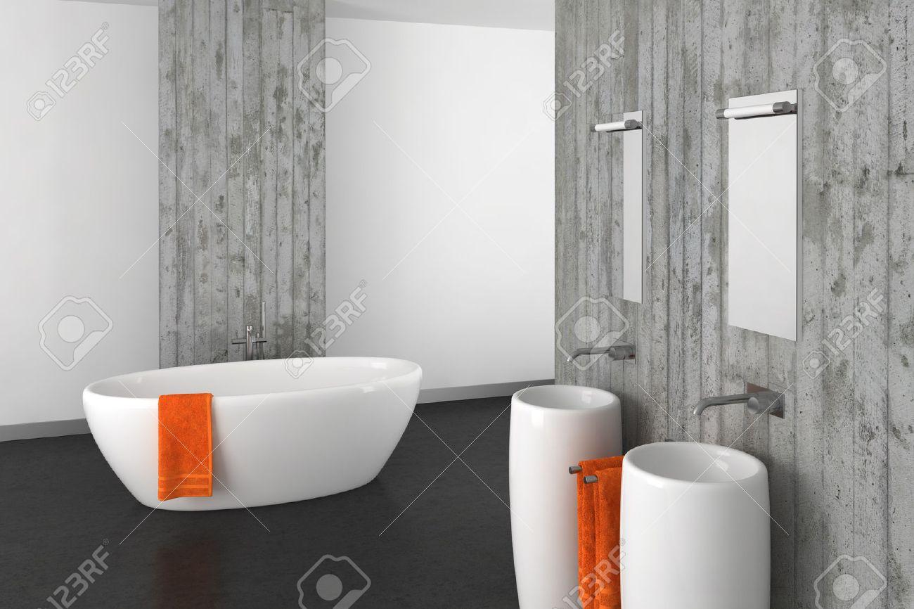 amazing foto de archivo moderno cuarto de bao con doble pared cuenca hormign y suelo oscuro with cuarto bao moderno - Cuartos De Bao Modernos