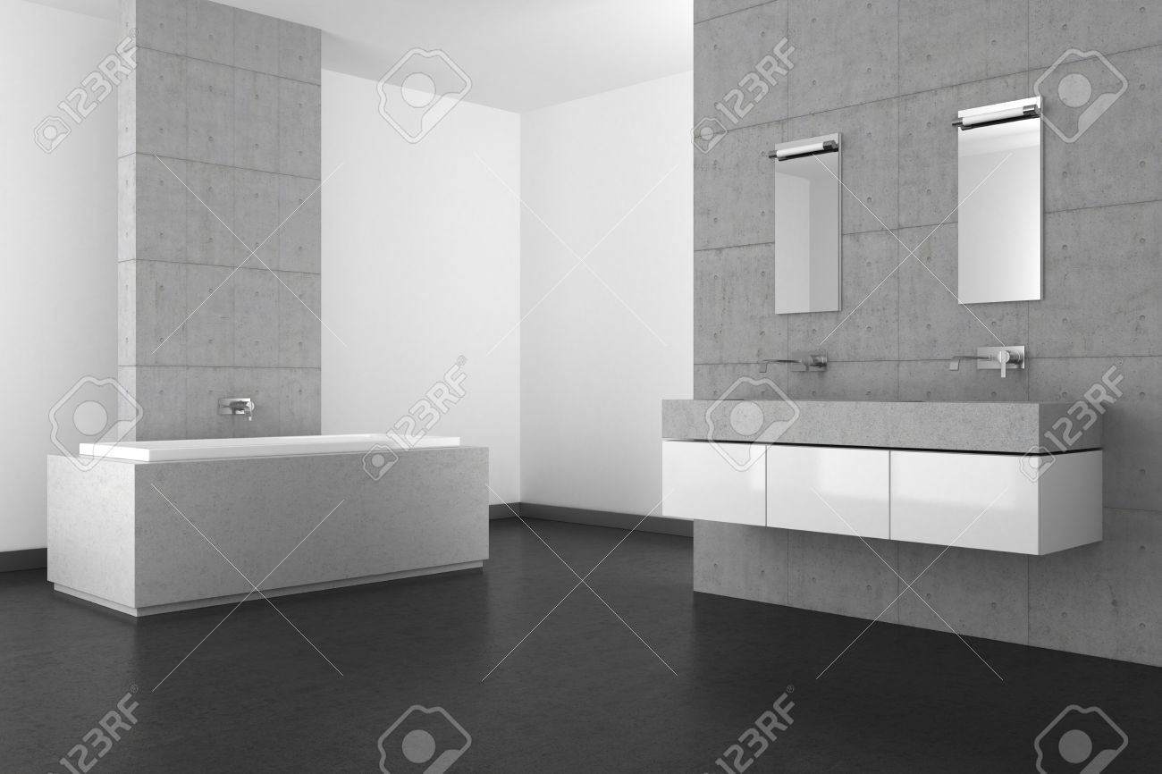 Modern Bathroom With Double Basin Concrete Wall And Dark Floor Stock ...