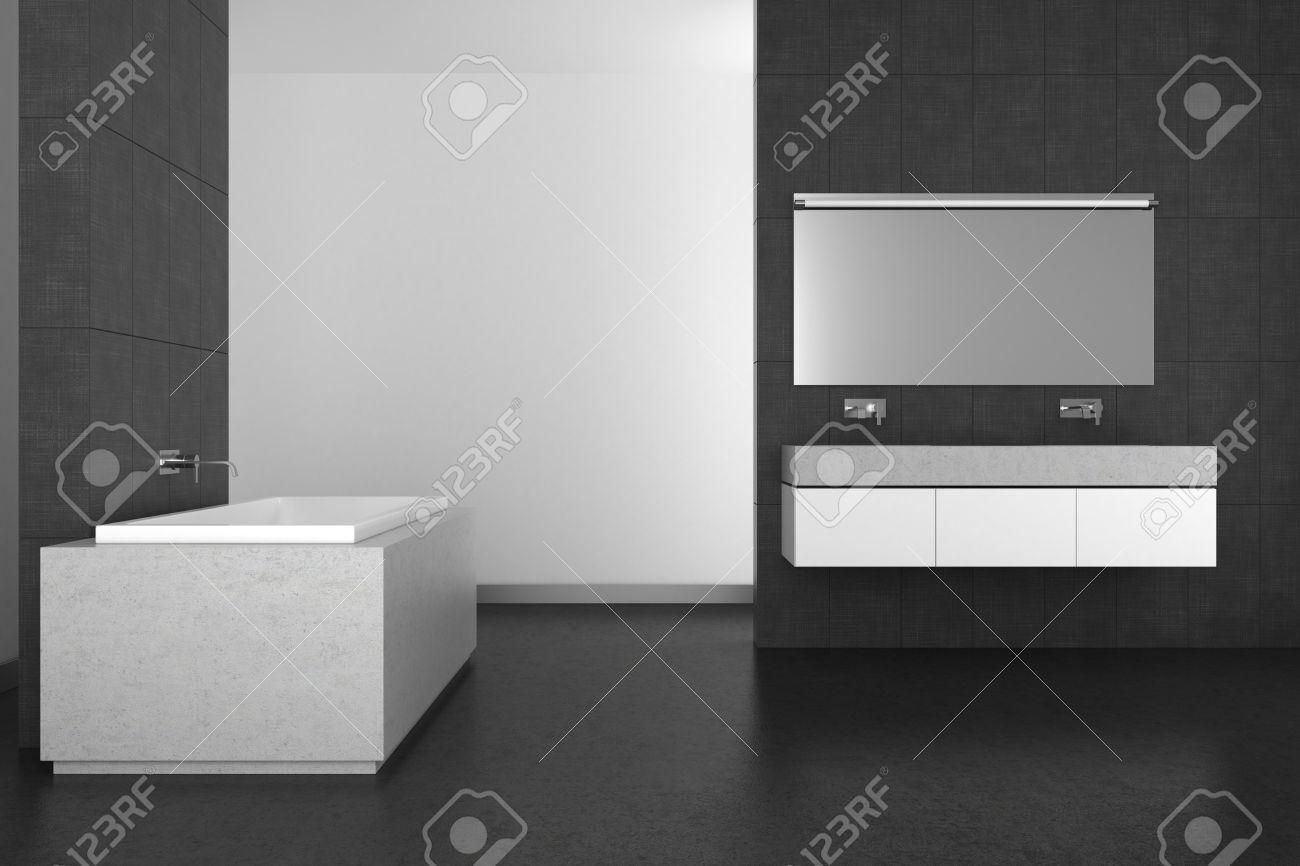 foto de archivo moderno cuarto de bao con lavabo doble azulejos grises y suelo oscuro las d