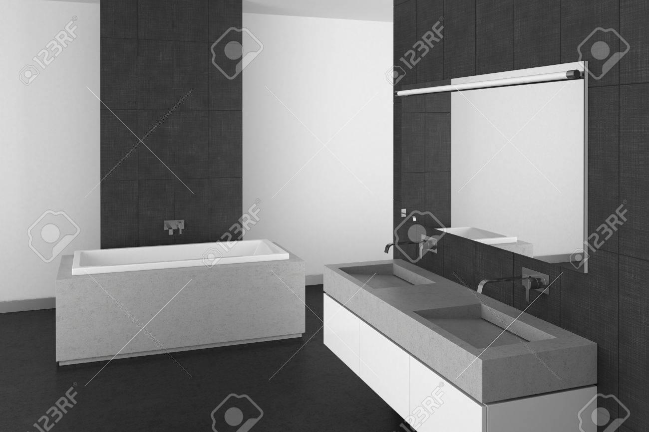 archivio fotografico moderno bagno con doppio lavabo piastrelle grigie e pavimento scuro rendering 3d