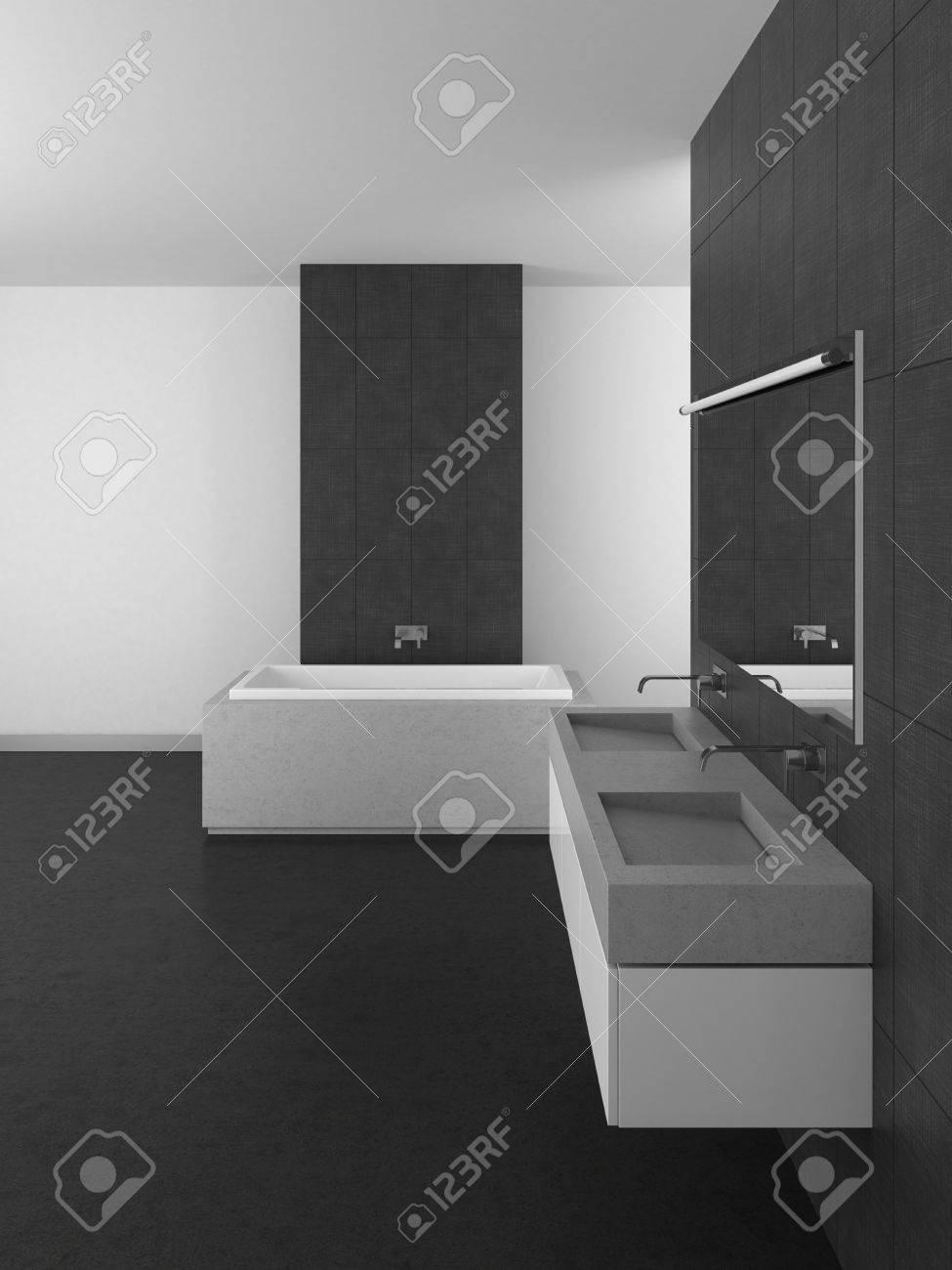 cuarto de bao con lavabo doble azulejos grises y suelo oscuro las d with azulejos de cuarto de bao modernos with baos with alicatado de baos modernos - Alicatado De Baos
