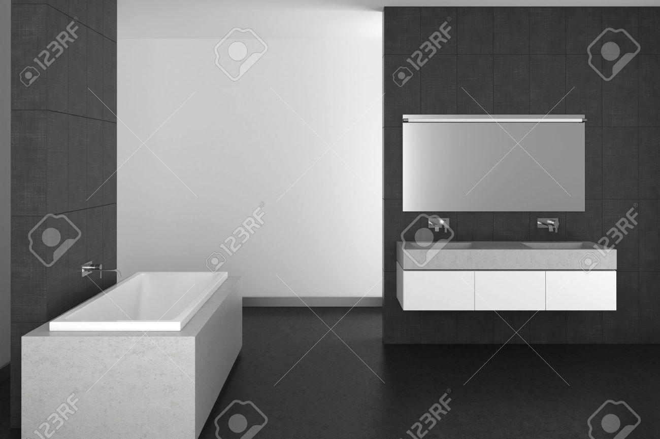 Modernt badrum med dubbla handfat, grå plattor och mörkt golv; 3d ...