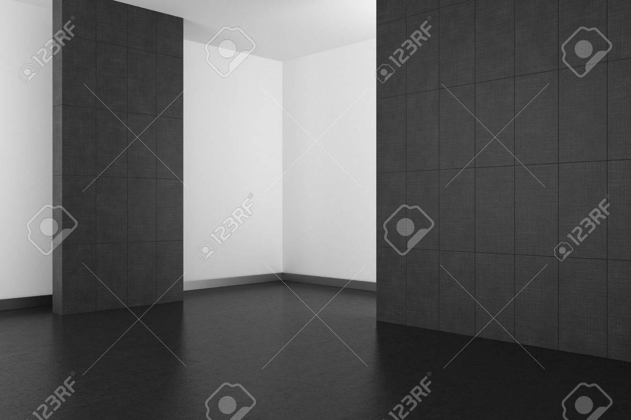 Leere Modernes Bad Mit Grauen Fliesen Und Dunklen Boden; 3D ...
