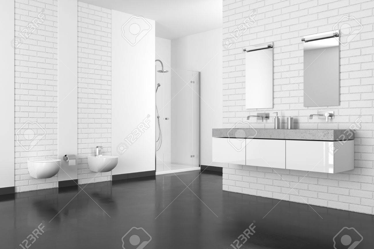 Modern Bathroom With White Brick Wall And Dark Floor In Resin Stock Photo    84524785