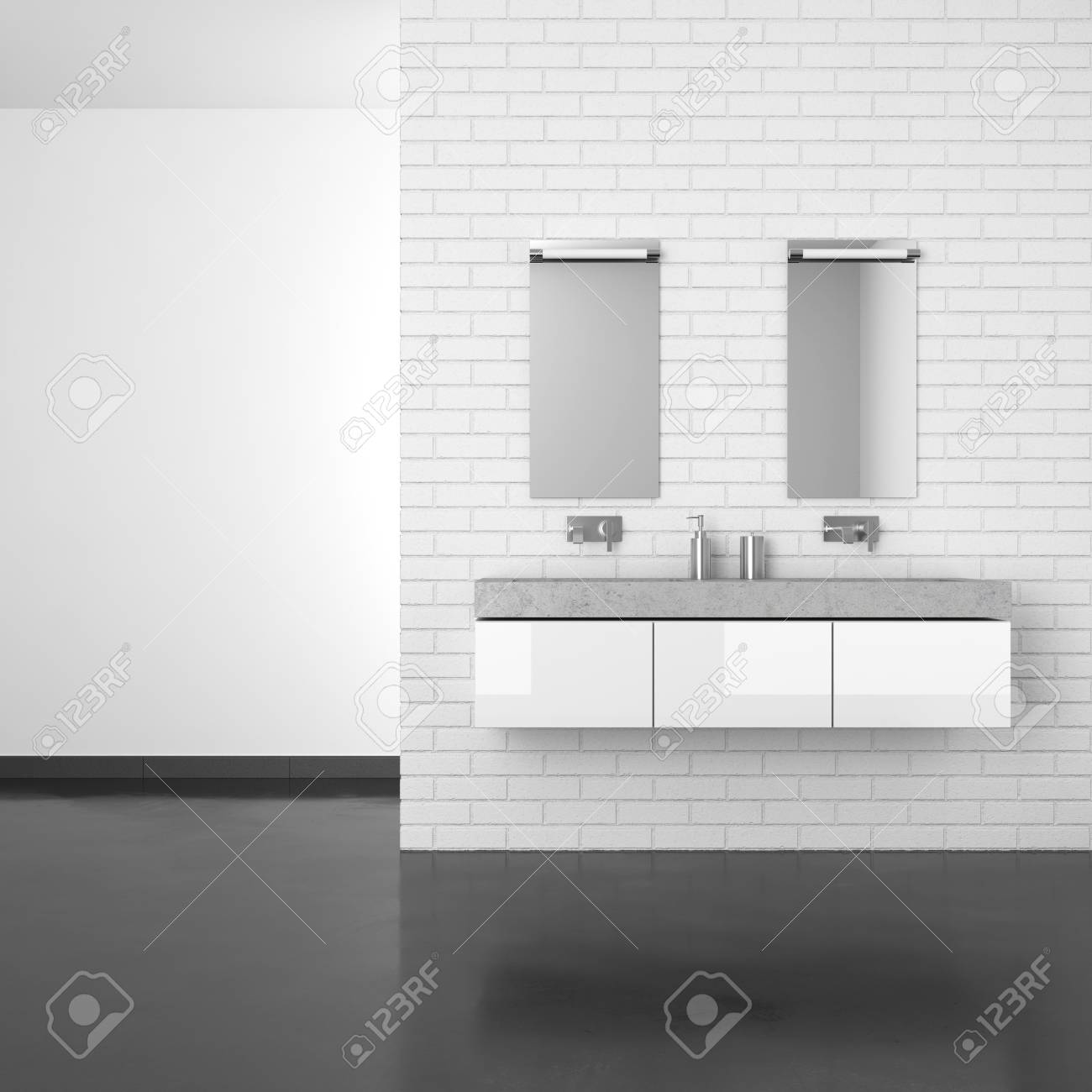 Modern Bathroom With White Brick Wall And Dark Floor In Resin