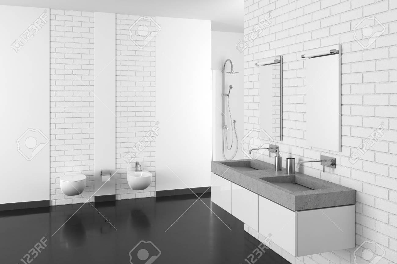 Modernes Badezimmer Mit Weisser Backsteinmauer Und Dunklem Boden Im