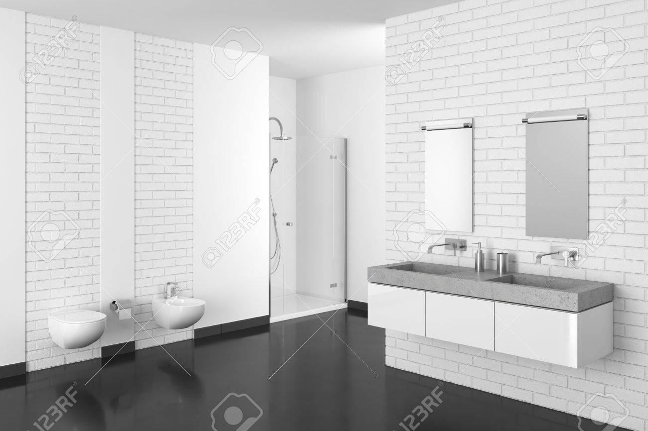 Salle De Bain Brique salle de bain moderne avec mur en briques blanches et plancher noir en  résine