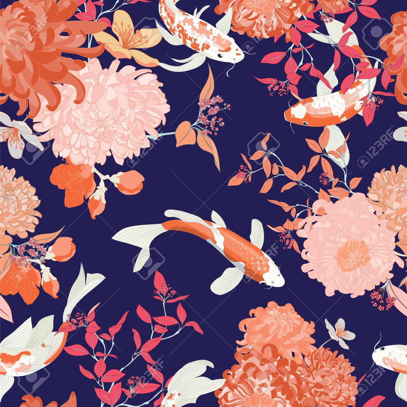 Koi Fish Pond Seamless Vector Pattern Chrysanthemum Wallpaper Royalty Free Cliparts Vectors And Stock Illustration Image 139331107
