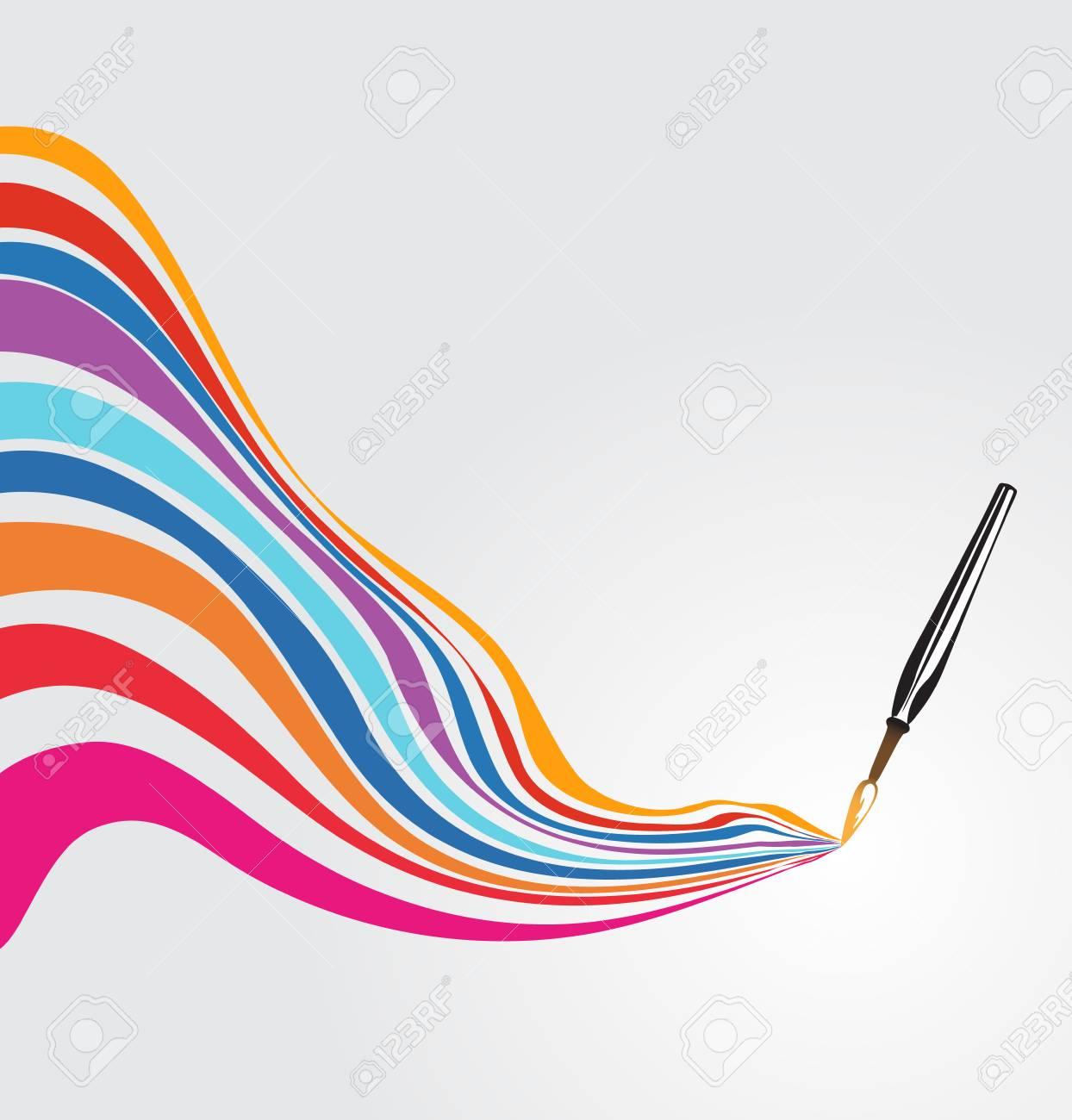 Paintbrush drawing a rainbow - 51811886