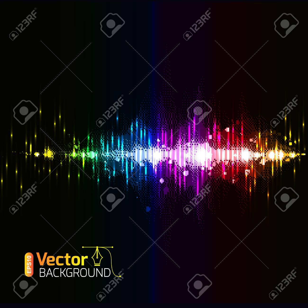 カラフルな音楽黒の背景 壁紙 ポストカード 音楽バナーのボリューム