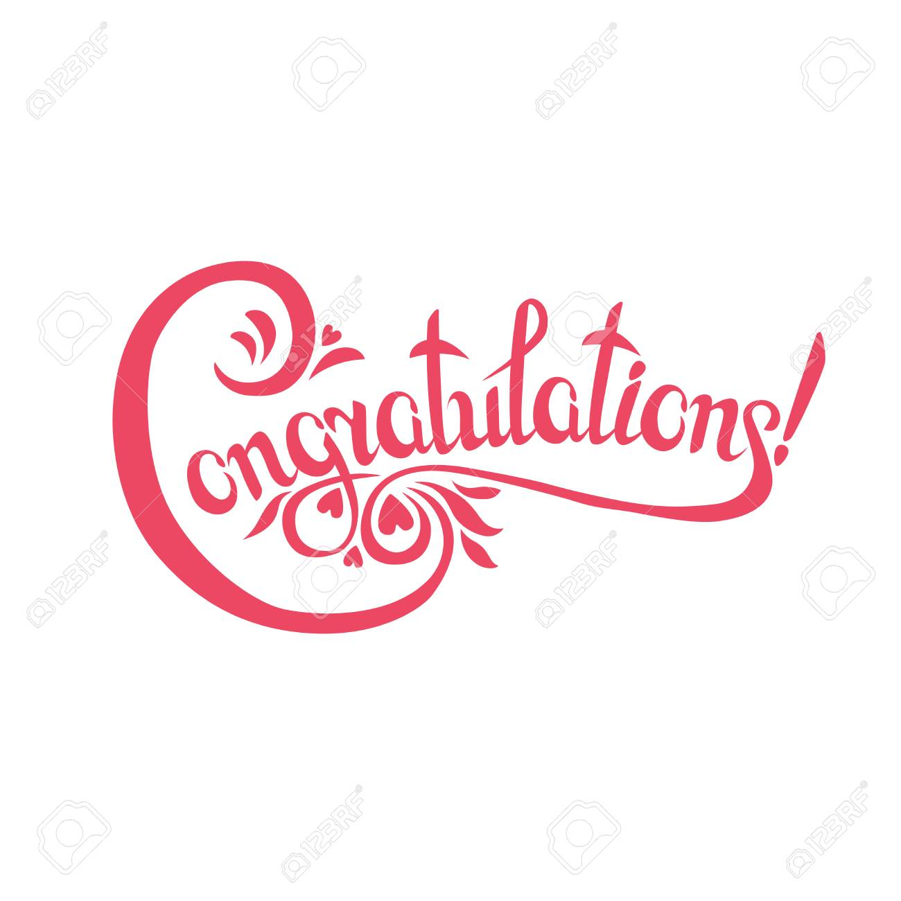 congratulations sign hand drawn lettering greeting card with