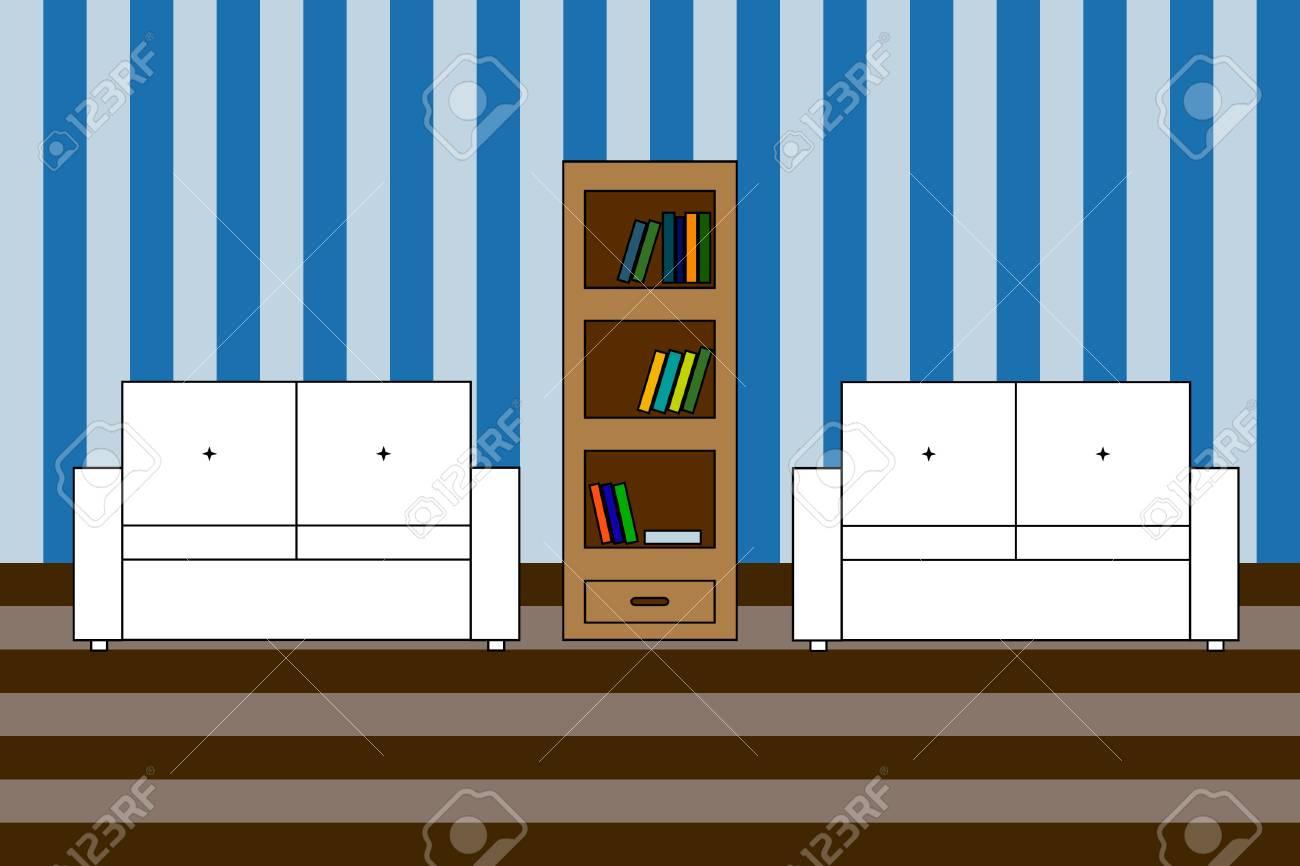 Multicolored Vector Icon Of Interior Living Room Two White Sofa
