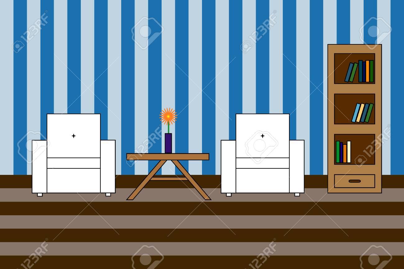 Bunte Vector Symbol Der Innenraum Wohnzimmer: Weiß Amchairs Mit ...