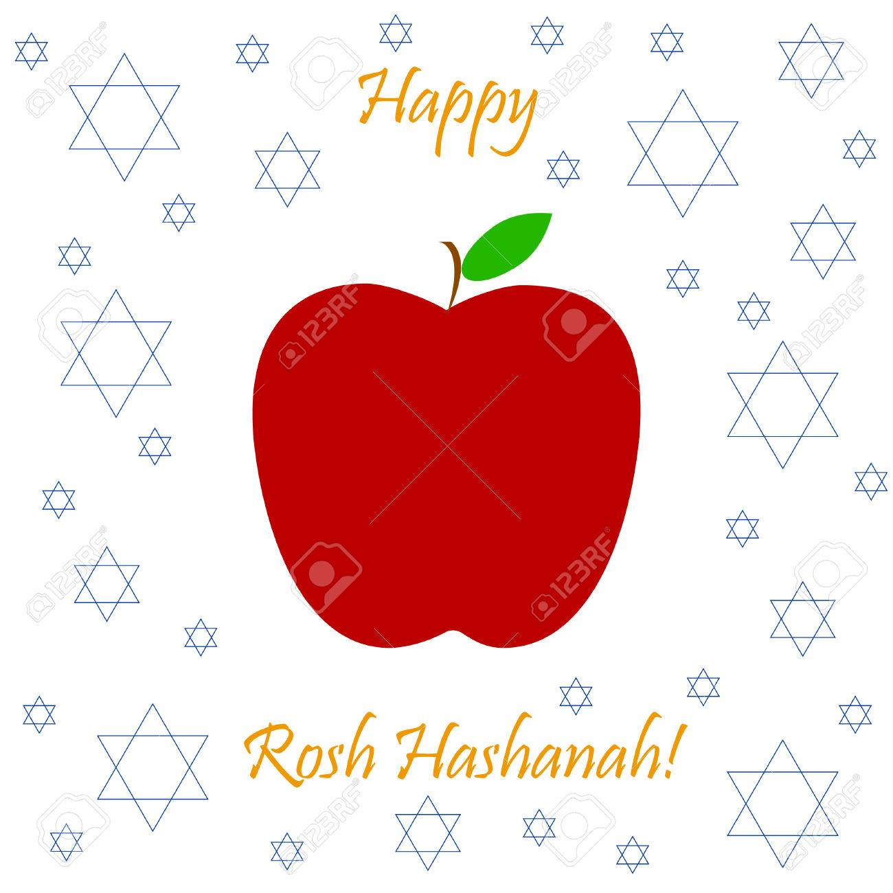 Vector greeting card for rosh hashanah jewish new year apple vector greeting card for rosh hashanah jewish new year apple and star of kristyandbryce Choice Image