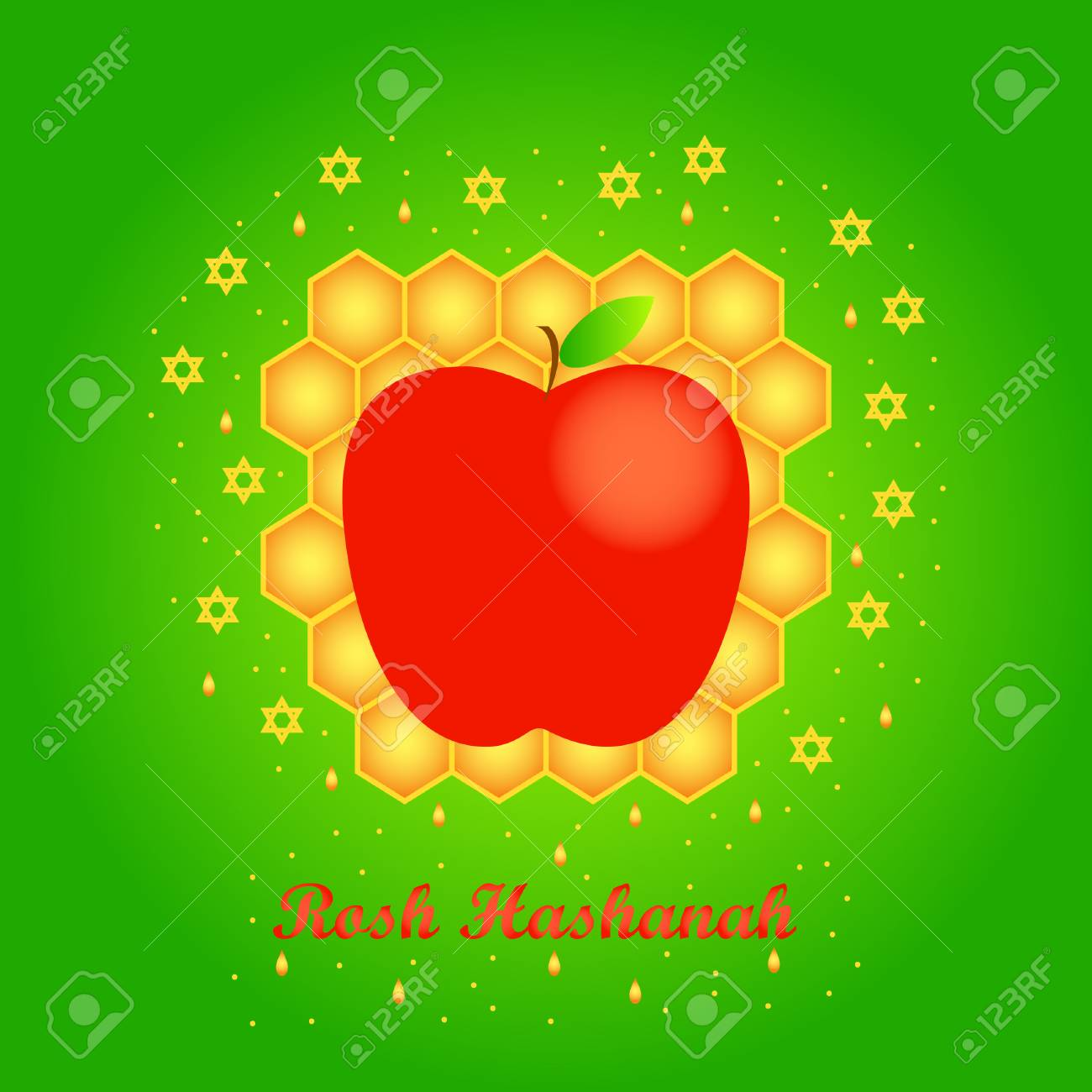 Vector Greeting Card For Rosh Hashanah Jewish New Year Apple