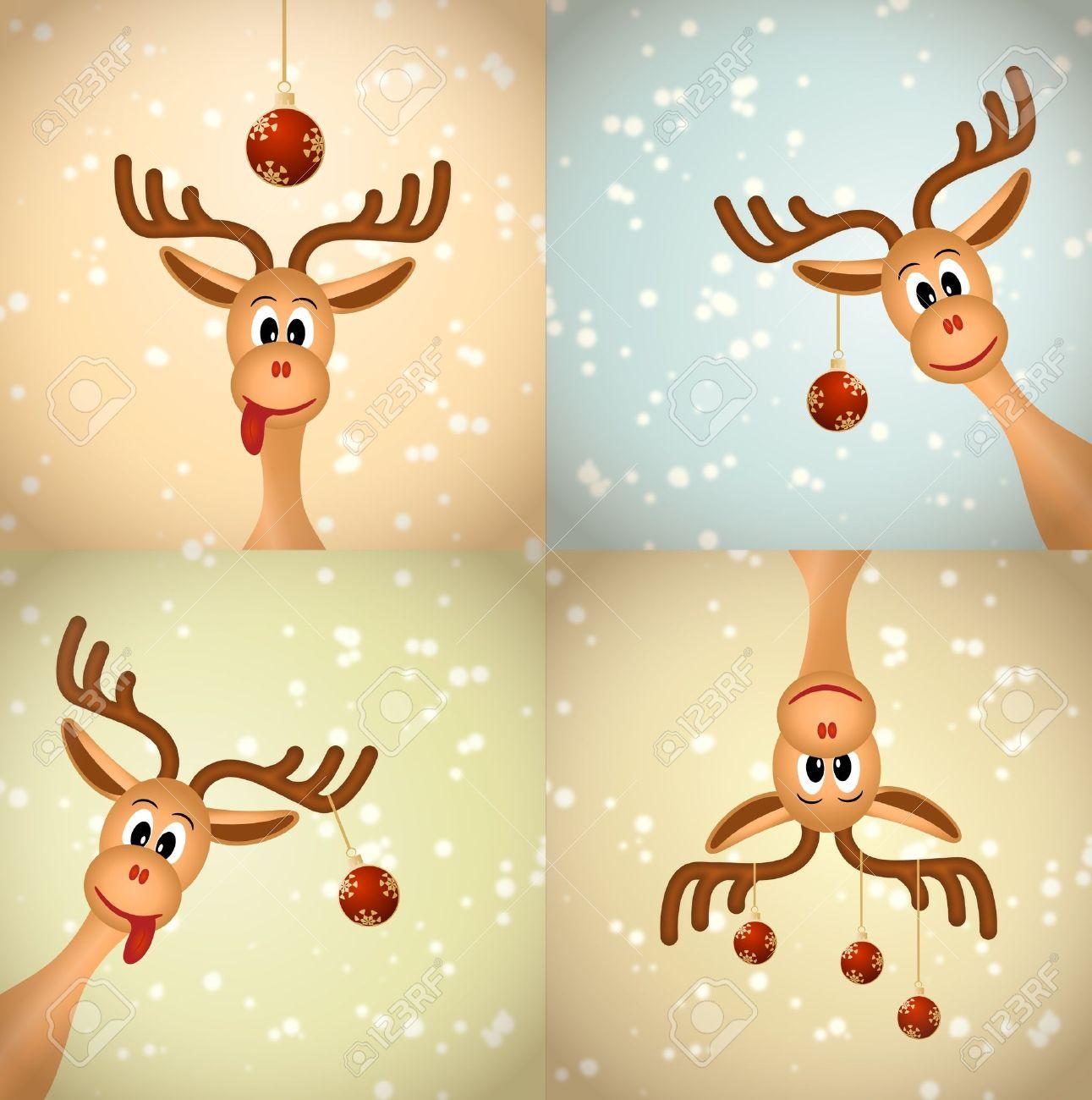 cuatro renos de navidad graciosas de navidad bolas nad nieve ilustracin de mapa de bits