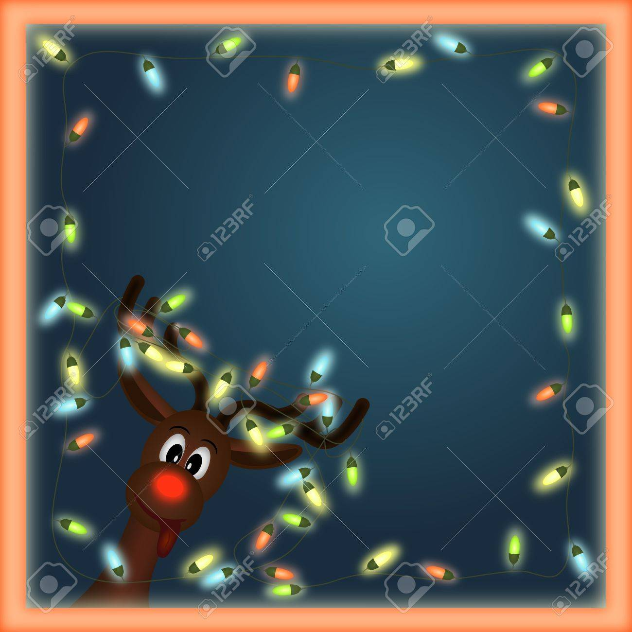 funny reindeer with christmas lights tangled in antlers in orange  frame with dark background Stock Photo - 11084288