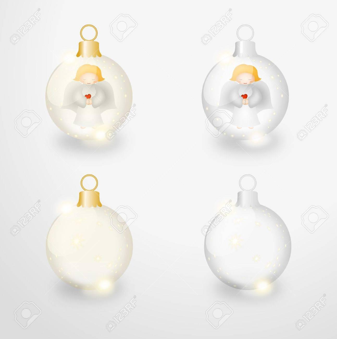 Ilustracion De Mapa De Bits De Cuatro Bolas De Navidad Transparentes - Bolas-de-navidad-transparentes