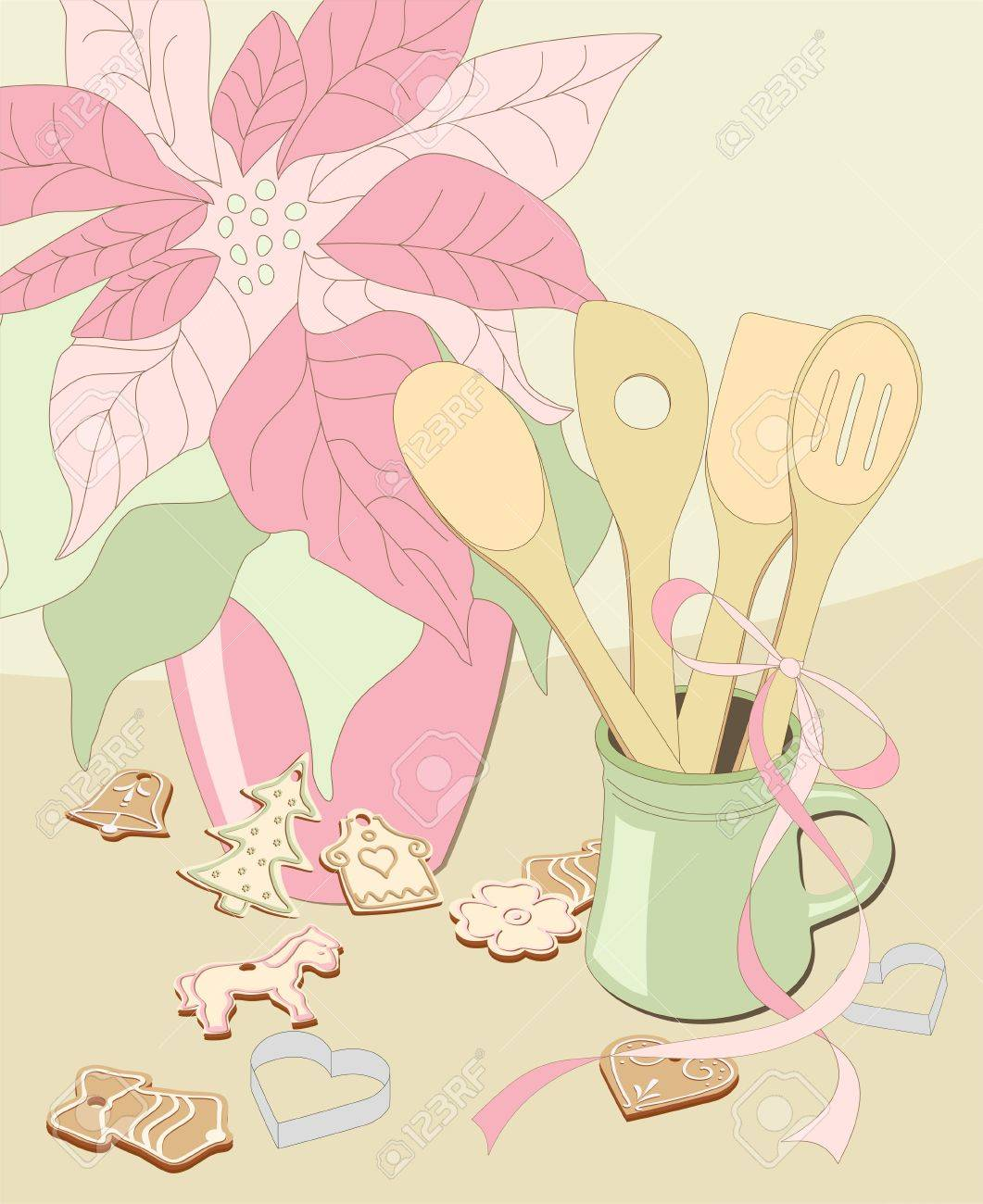 illustrated poinsettia, mug with wooden spoons and christmas gingerbread on beige background - vintage Stock Vector - 11243881