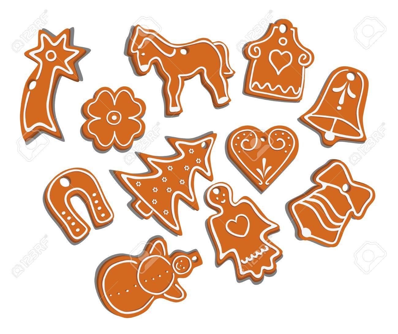 vector collection of 11 isolated christmas gingerbread on white background - seasonal cookies Stock Vector - 11243878