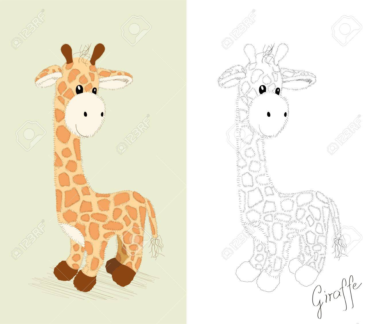 hand drawn toy little giraffe coloring book royalty free