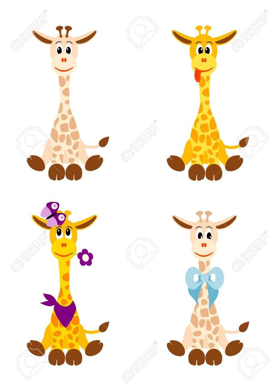 illustration of four little cute giraffes on white background Stock Vector - 11661344