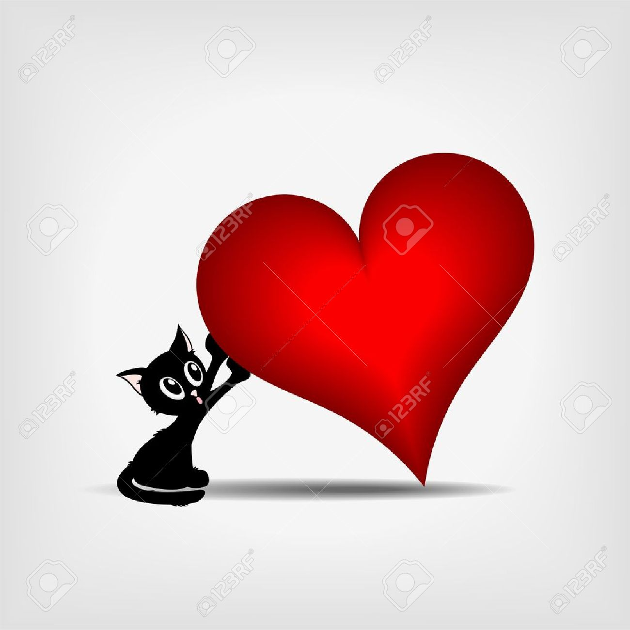 beautiful black kitty holding tilted big red heart on gray background - illustration Stock Vector - 11814778