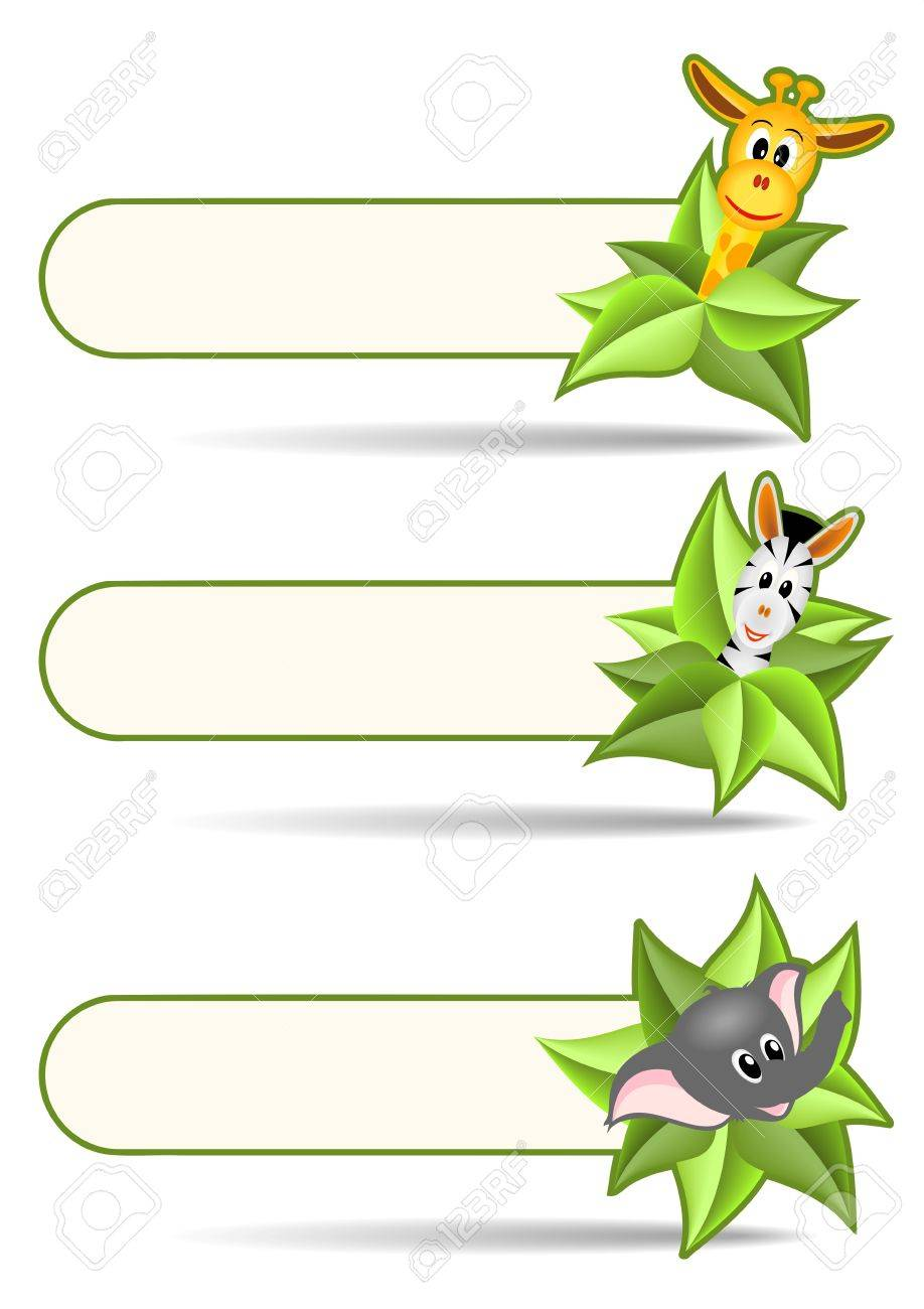 three animal stickers - zebra, elephant and zebra with green leaves on white background - illustration Stock Vector - 12077590