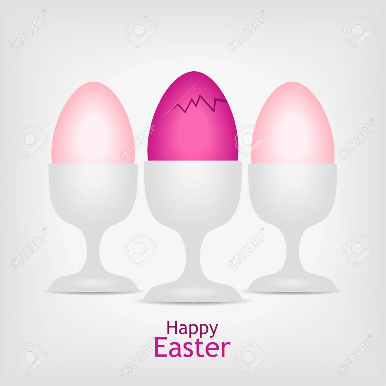 three pink easter eggs in white cups on gray background - vector illustration Stock Vector - 12208794