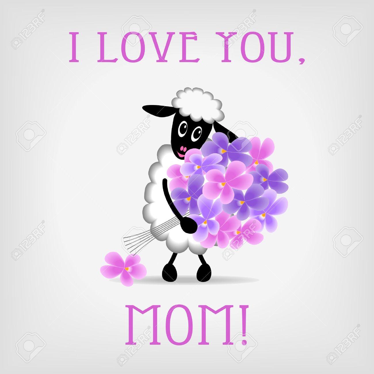 joyeux anniversaire maman moutons mignon tenant bouquet de fleurs violettes sur fond gris avec