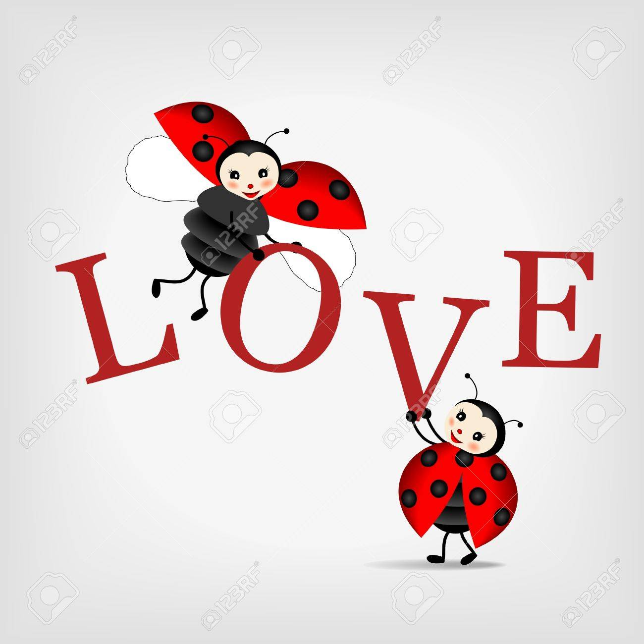 two happy ladybugs holding big letters LOVE Stock Vector - 12661422