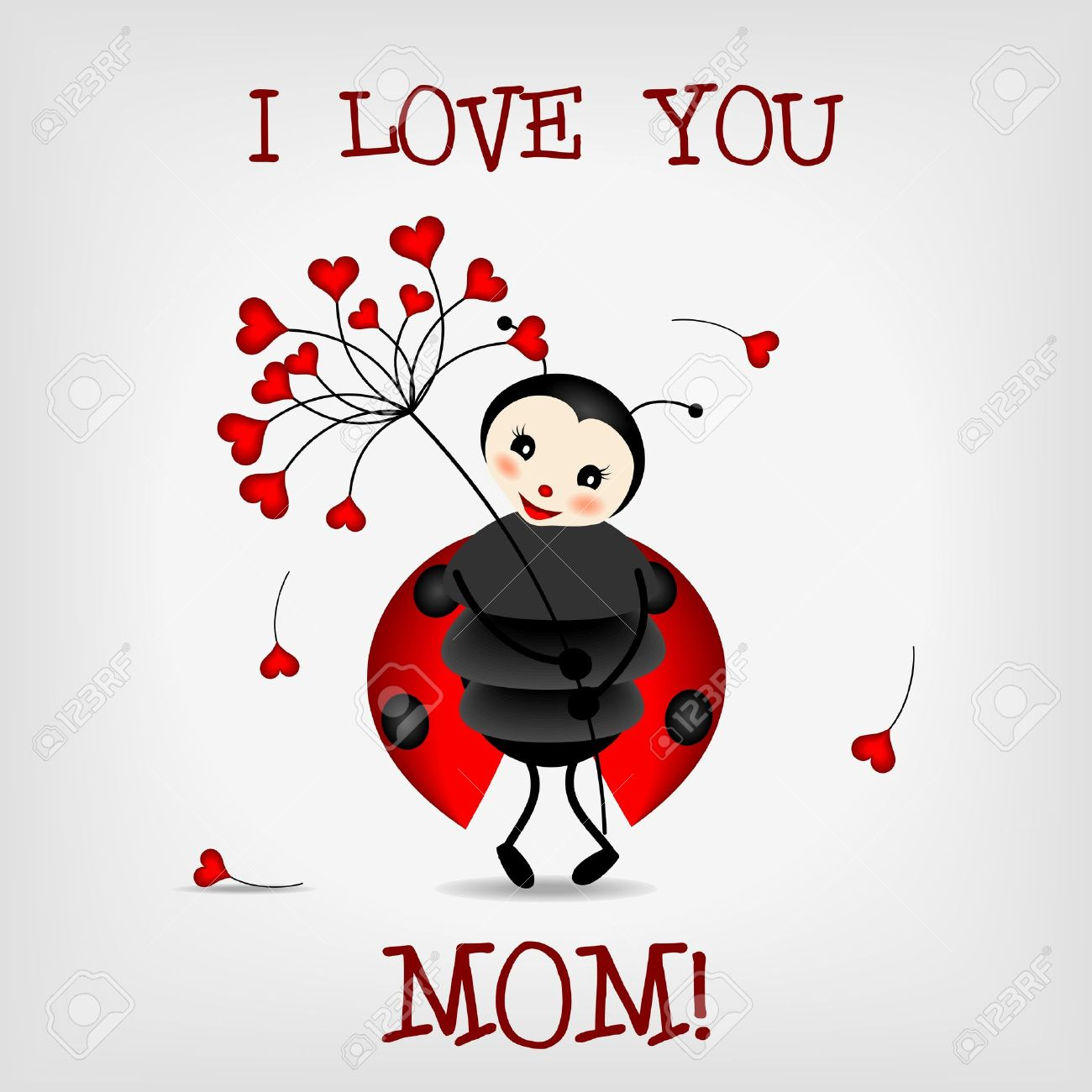 Cute Ladybug Holding Red Flower With Text I LOVE YOU MOM Stock Vector