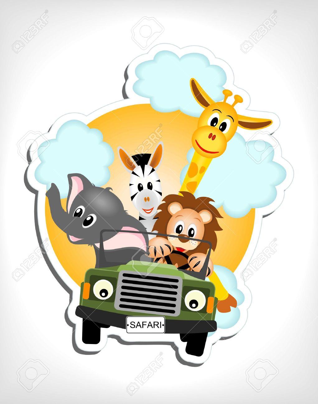 giraffe, elephant, zebra and lion driving green car illustration Stock Vector - 13089462