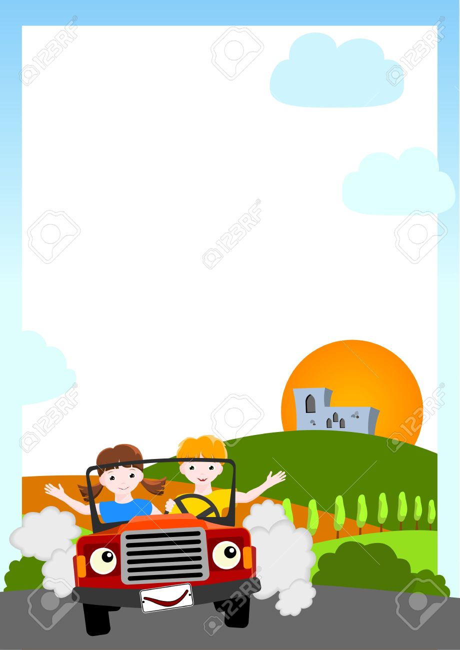 kid  background - boy and girl in red car Stock Vector - 13151445