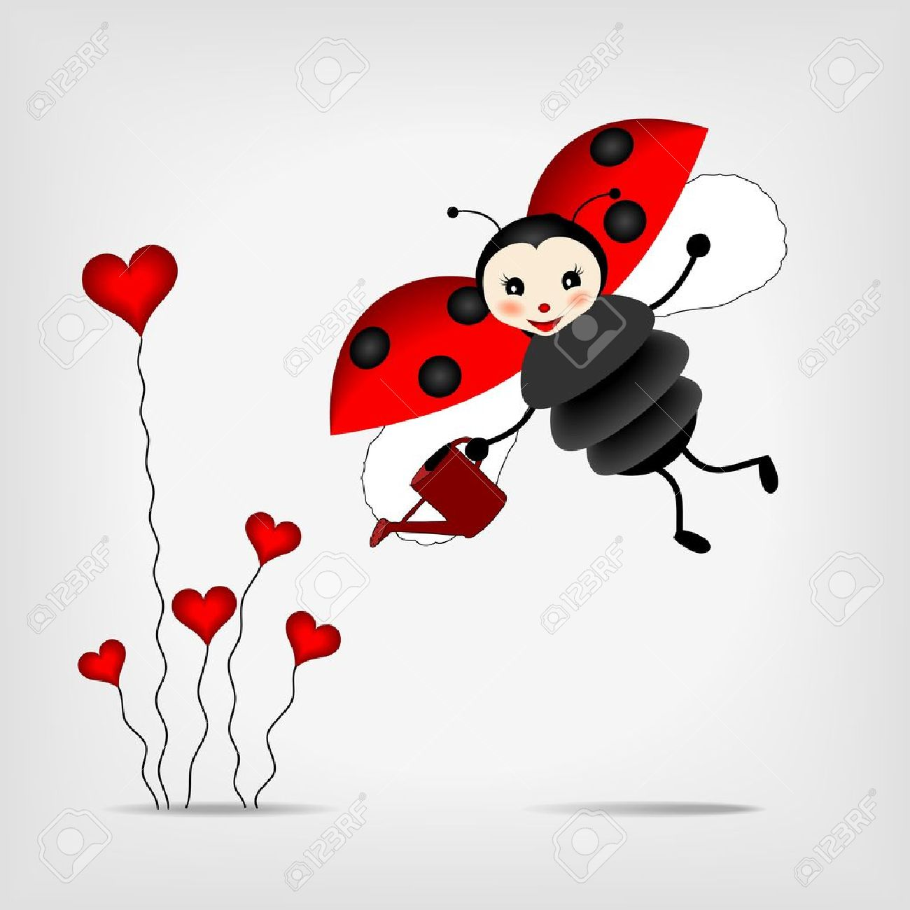 cute ladybug with sprinkler and red abstract flowers - vector illustration - 13558239