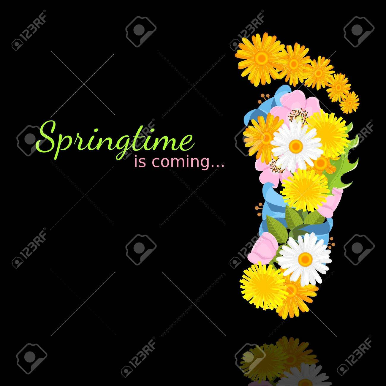 spring flowers in shape of footprint on black background with reflection Stock Vector - 13974286