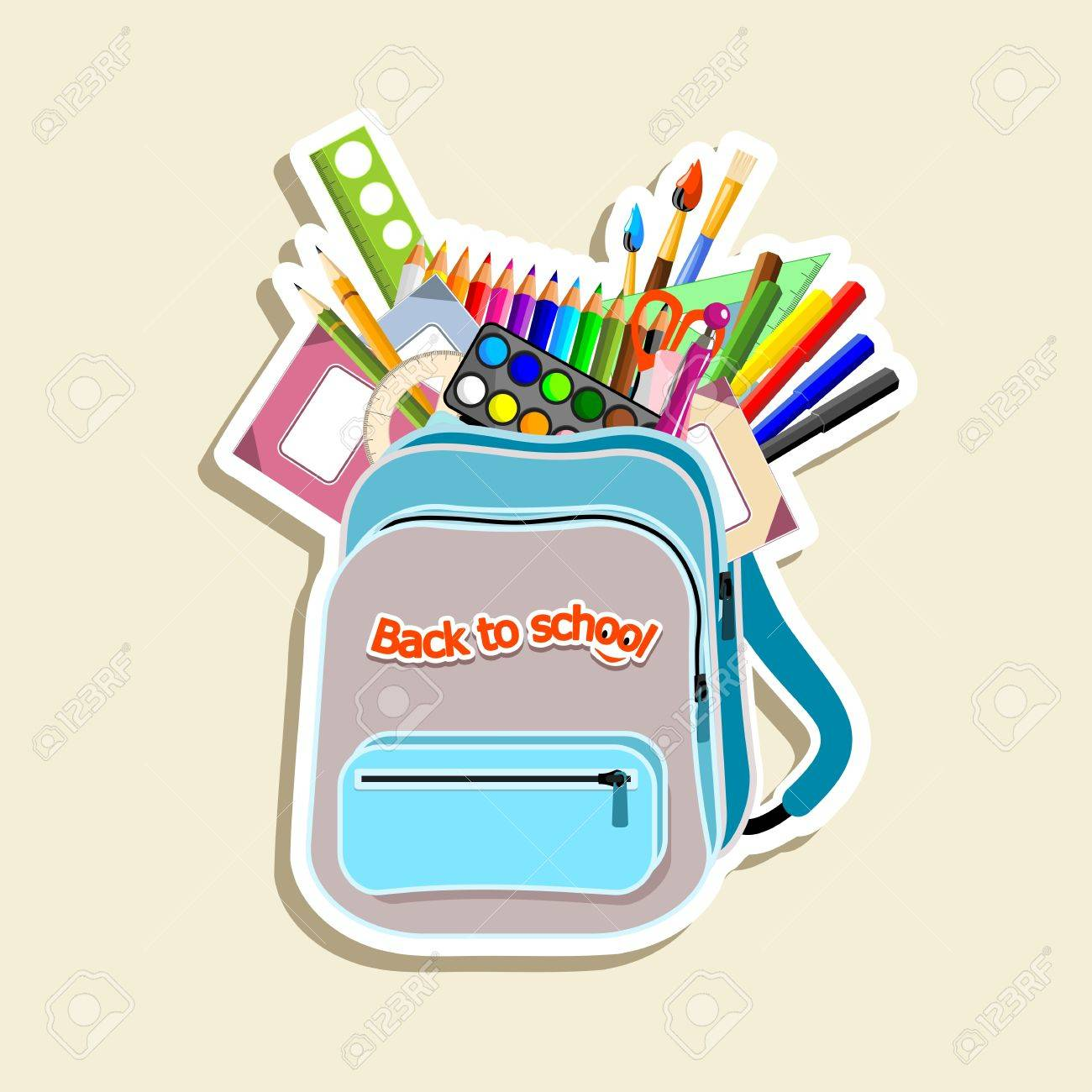 schoolbag with stationery - illustration Stock Vector - 14180840