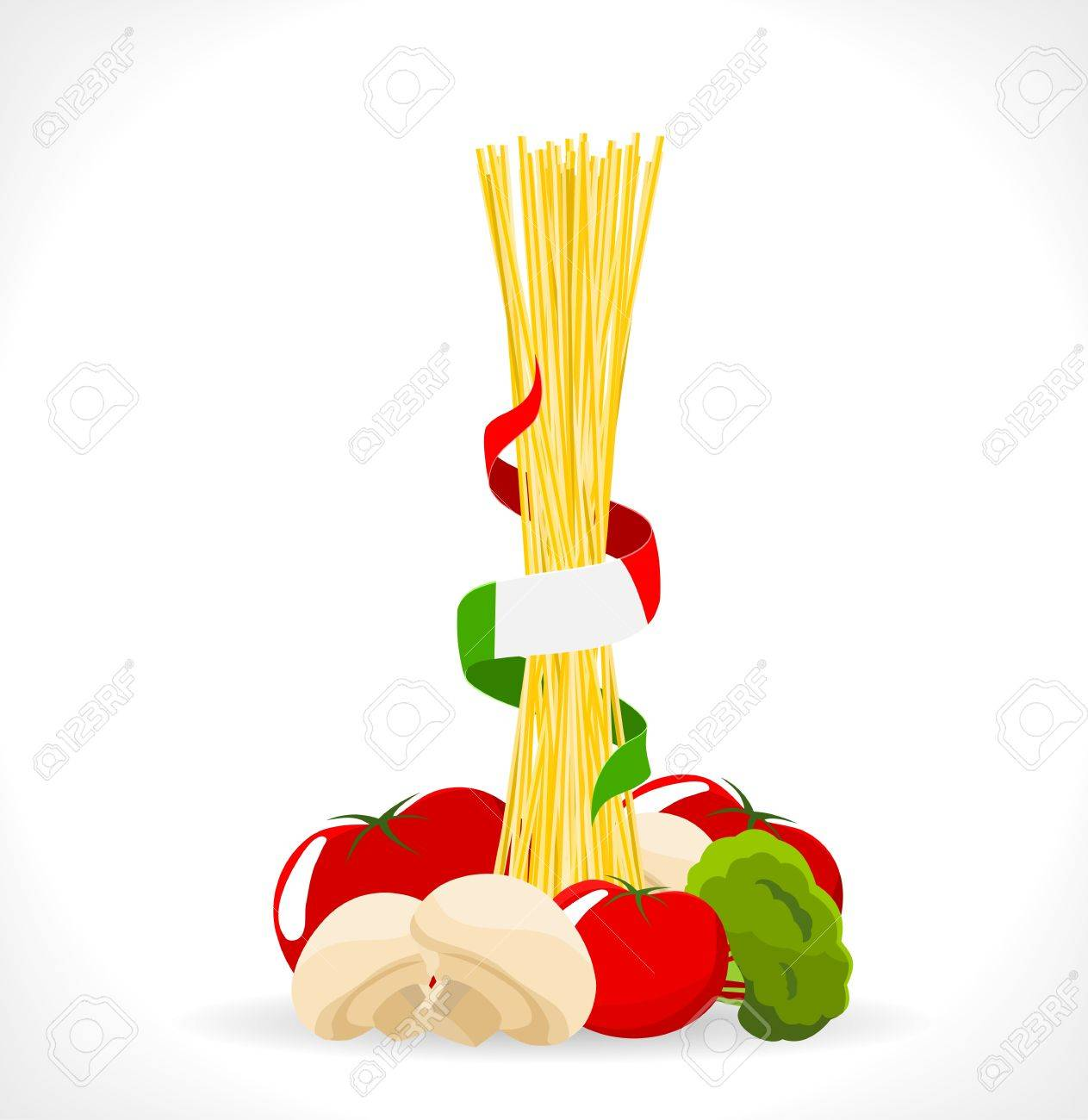 raw spaghetti with mushrooms, tomatoes and broccoli -illustration Stock Vector - 14180776