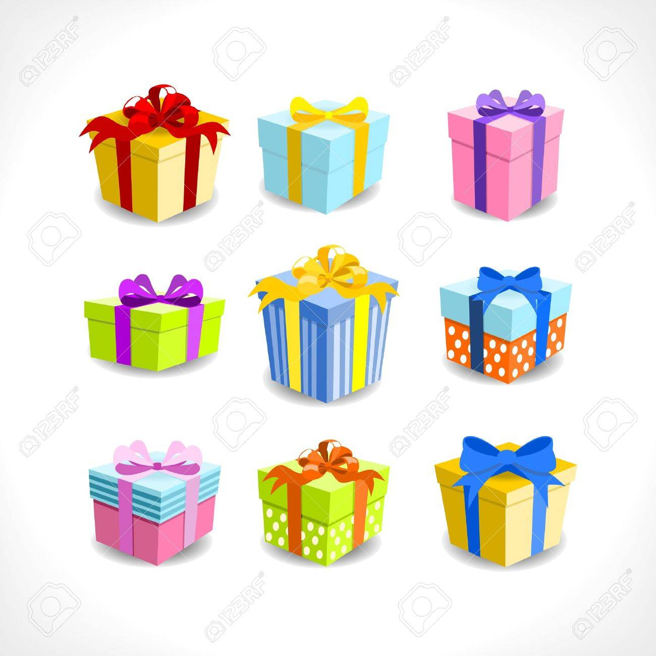 various colorful gifts with ribbons on white background Stock Vector - 14395822