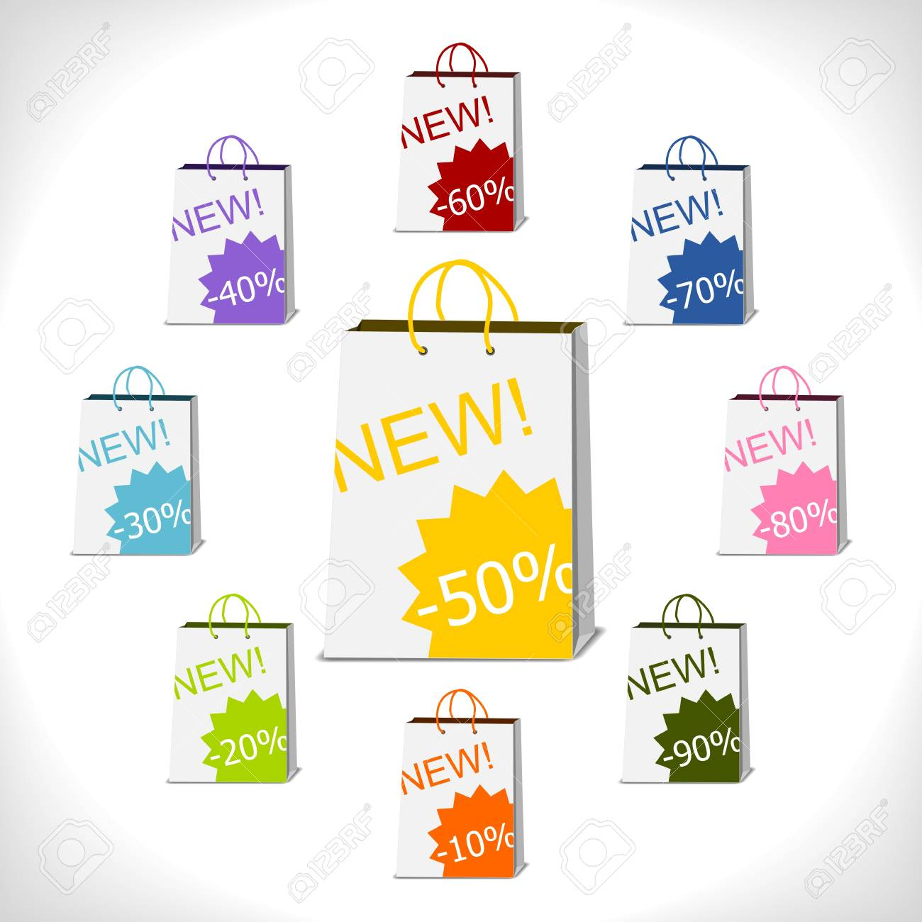 shopping bags decorated with percent stickers Stock Vector - 14395820