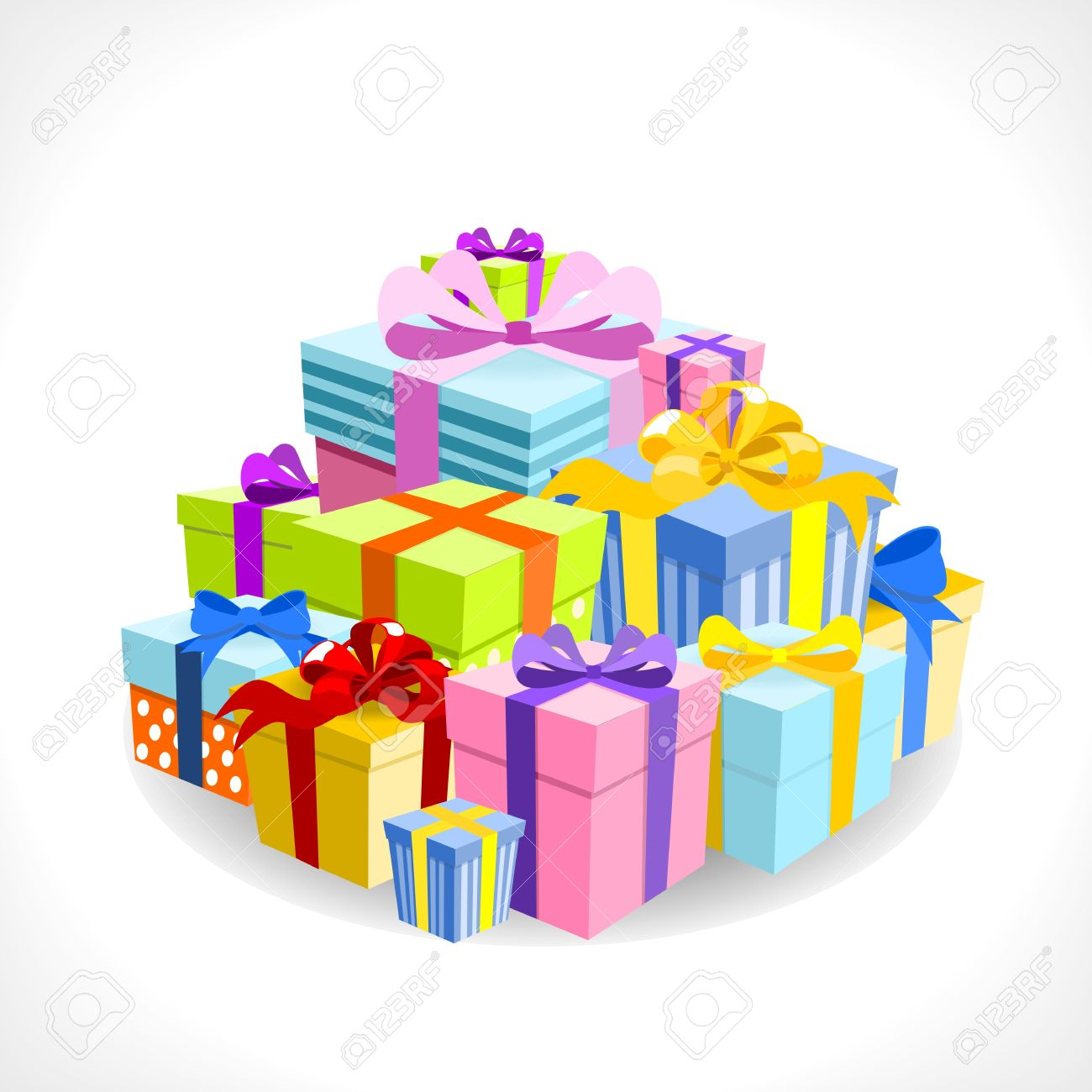 pile of colorful gifts on white background - vector illustration Stock Vector - 14526863
