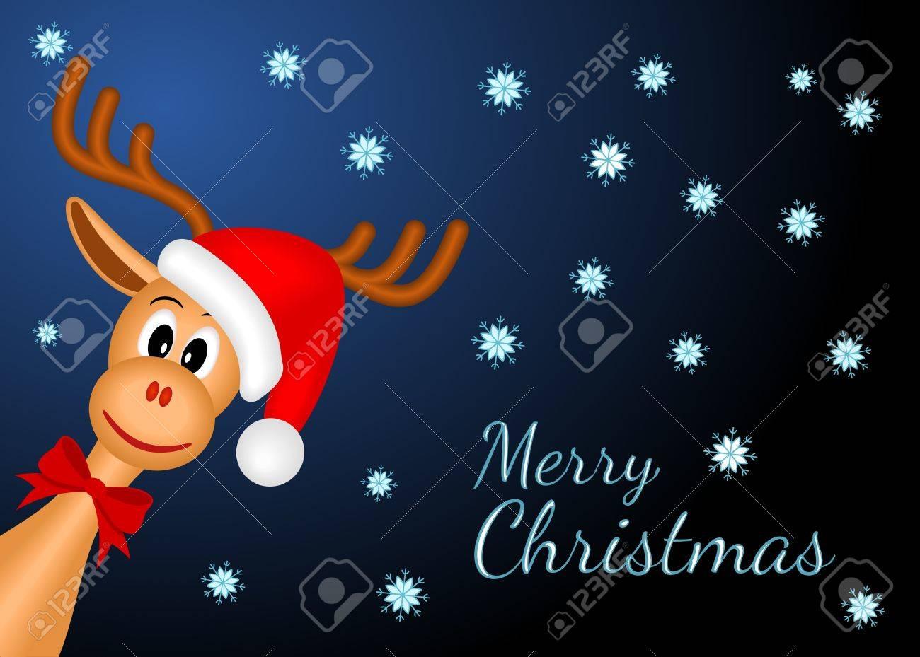 christmas reindeer with red santa - 15122955